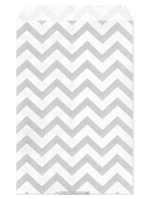 100 Flat Merchandise Paper Bags 4 X 6 Silver Grey Chevron Stripes On White