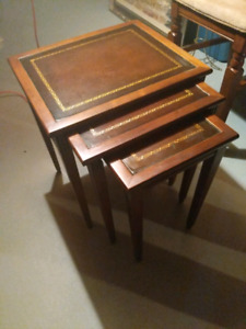 Antique Leather Top Mahogony Nesting tables