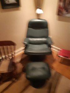 Great green leather chair & foot stool  SOLD  SOLD