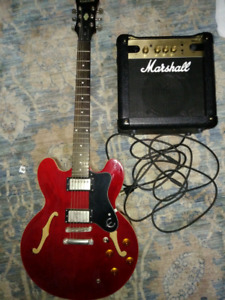 Epiphone Dot Red Electric Guitar Marshall MG10 Amp