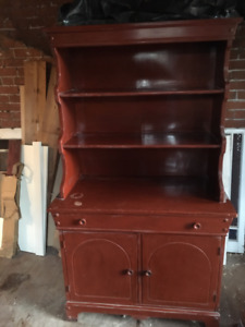 charming old solid wood hutch