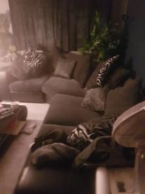 Blk and grey corner sofa