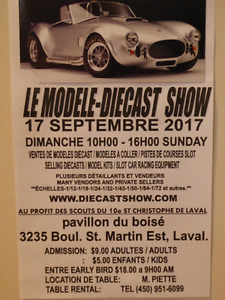 THE MODEL DIECAST / SLOT CAR SHOW NEAR MONTREAL  SUNDAY SEPTEMBE