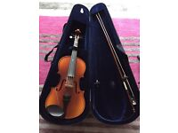 3/4 violin with case, now, chin support and shoulder support