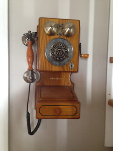 """Antique"" Looking Telephone & Black Wrought Iron Mirror"