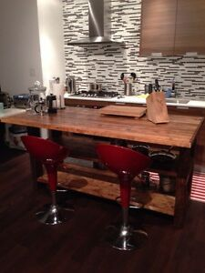 Rustic kitchen islands made from reclaimed wood