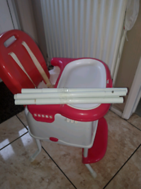 High chair and baby walker.