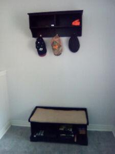 Front door bench and hat rack