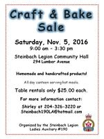 Craft and Bake Sale - Steinbach Legion Ladies' Auxiliary