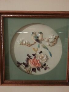 ASIAN FRAMED PICTURES MADE FROM EXOTIC SHELLS