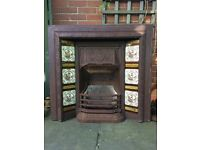 Cast iron fire surround with tile insert