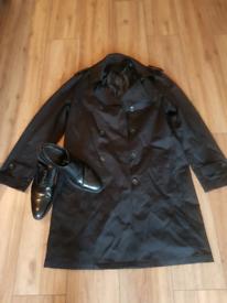 Men's Trendy Trench Coat & Shoes