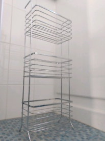 Chrome bathroom storage caddy