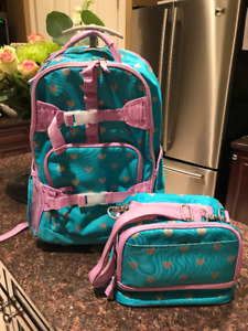 PB Kids Rolling Back Pack-Aqua with Silver Hearts