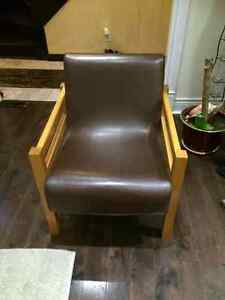 VINTAGE: Two brown leather chairs