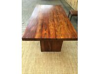 Wooden dining table and leatherette chairs
