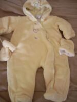 2 snowsuits different sizes asking 5 each yellow 9 months /purpl