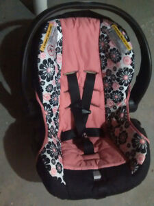 Pink and Black Infant Evenflo Car Seat and Base