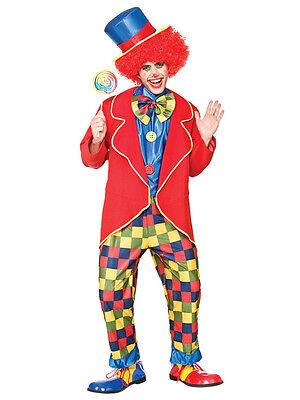 Adult La Circus Clown Costume Mens Fancy Dress Outfit Male Carnival Stag S - XL