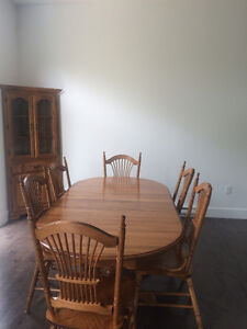 Dining Table, Six Chairs and Corner Hutch