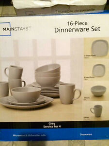 New in box grey 16pc dinnerware set