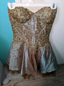 Short Bronze Gem Prom Dress