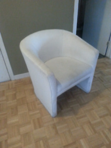 Chaise lounge blanche tissus x3