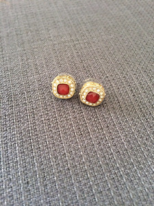 Ruby Crystal Studded Earrings