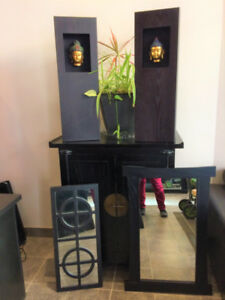 Cabinet, side tables, mirrors and art work