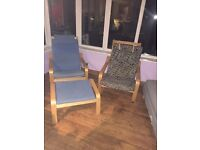 IKEA Poang chairs and foot stool