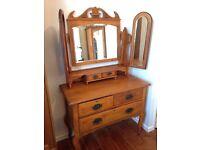 Beautiful Antique Wooden Dresser with Mirror