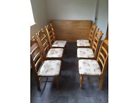 Solid Pine Kichen table and 6 chairs