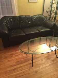 Premium leather couch and love seat with a glass table Regina Regina Area image 2