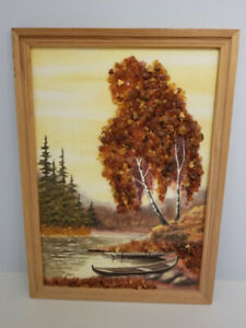 Oil Painting Landscape of precious Large Baltic Amber Stones 13""