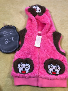 Brand New Cute pink girls Vest with hood - NWT - 2T