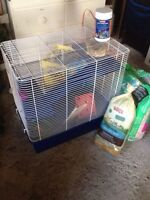 Large rodent cage and accessories