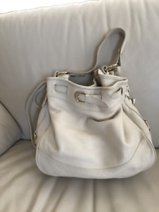 Leather Bucket Bag in White and Gold