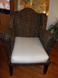 Brown Wicker Wing Back Chair