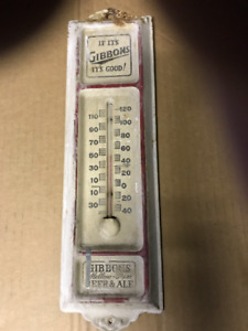 VINTAGE GIBBONS BEER & ALE ADVERTISING THERMOMETER
