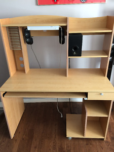 COMPUTER DESK WITH SOUND SYSTEM SUB WOOFER AND LIGHTING.OBO.