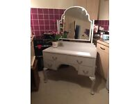 Shabby Chic Grey Dressing Table With Mirror