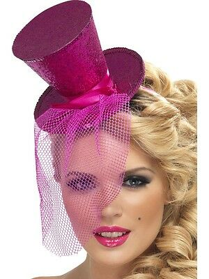 Mini Pink Top Hat Mad Hatter Costume Flapper Feather Womens Adult Fancy Dress](Pink Mad Hatter Hat)