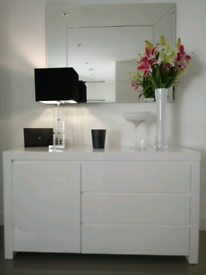 White gloss sideboard, brand new in box, 1 cupboard, 3 drawers