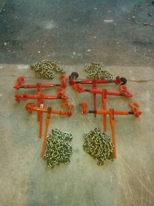 6 load binders, chain tie downs with chain