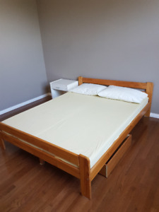 Queen size bed with drawers, mattress and night table