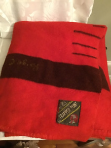 1930's Eatons Trapper Point Red All Wool Blanket Black Stripe