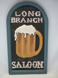 "Hand Painted Wooden 3D Bar Sign. ""LONG BRANCH SALOON"""