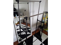 Portable Double Clothes Rail On Wheels with Shoe Shelf and Adjustable height 80 x 42 x 160cm