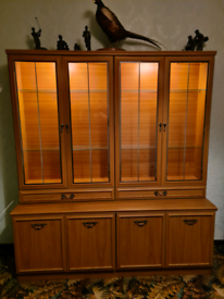 Side board with lit display cabinet