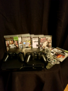 PS3 with games and controllers